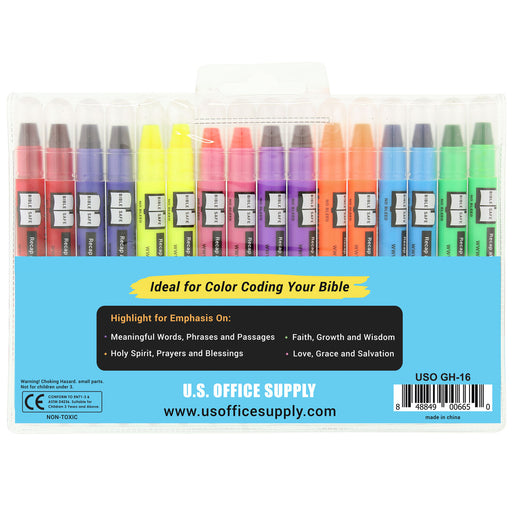 U.S. Office Supply Bible Safe Gel Highlighters - 8 Bright Neon Highlight Colors in 16 Marker Set - Won't Bleed, Fade or Smear - Study Guide