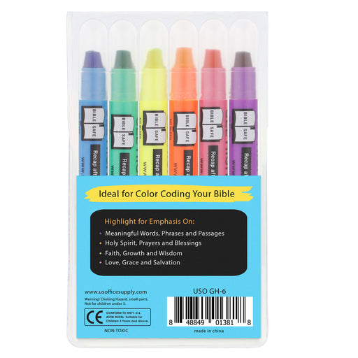 U.S. Office Supply Bible Safe Gel Highlighters - 6 Bright Neon Highlight Colors - Won't Bleed, Fade or Smear - Study Guide