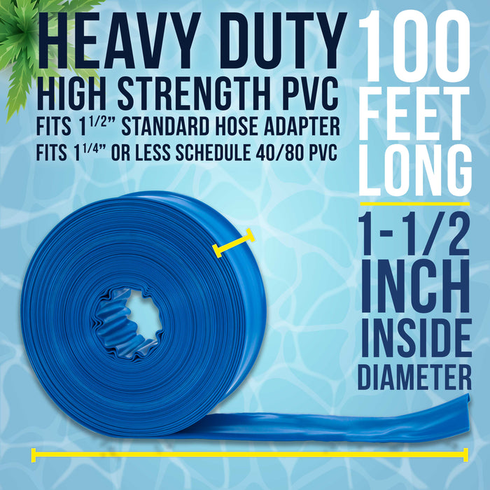 "1-1/2"" x 100' Heavy Duty Blue PVC Swimming Pool Backwash Hose with Hose Clamp"