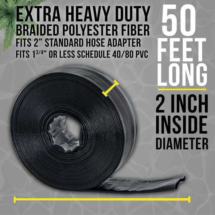"Black Rhino 2"" x 50' Pool Backwash Hose with Hose Clamp - Extra Heavy Duty Superior Strength, Thick 1.2mm (47 mils) - Weather Burst Resistant - Drain Clean Swimming Pools and Filters"