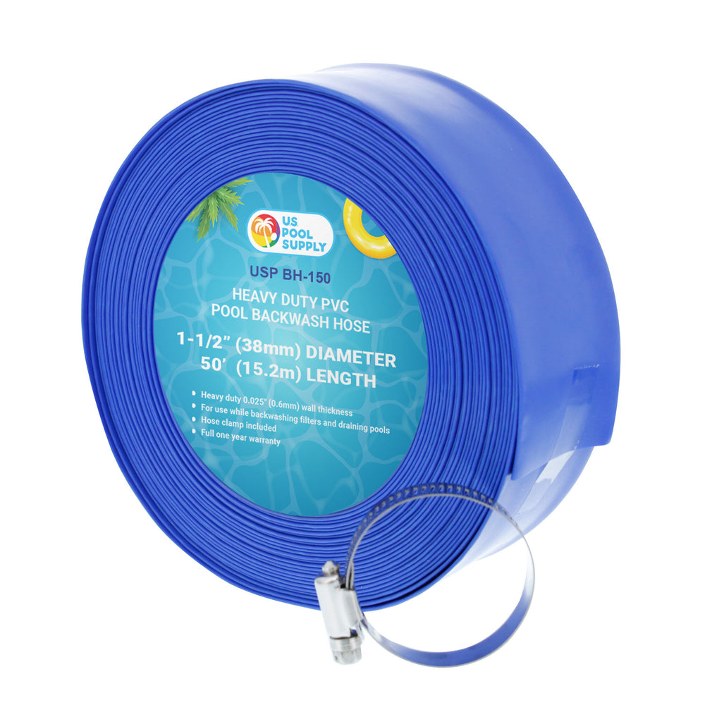 "1-1/2"" x 50' Heavy Duty Blue PVC Swimming Pool Backwash Hose with Hose Clamp"