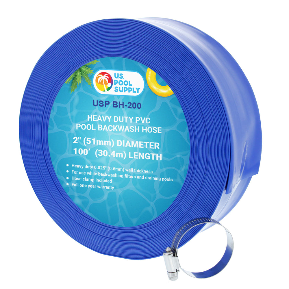 "2"" x 100' Heavy Duty Blue PVC Swimming Pool Backwash Hose with Hose Clamp"