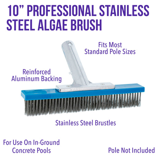 "U.S. Pool Supply Professional 10"" Stainless Steel Pool Algae Brush with EZ Clip Handle - Durable Bristles, Scrub Remove Calcium Buildup, Rust Stains on Concrete - Sweep Debris from Walls, Floors Steps"