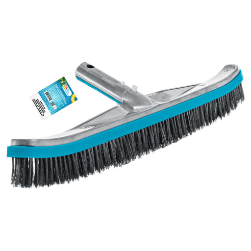 "Professional 18"" Stainless Steel Pool Algae Brush with Heavy Duty Aluminum Handle, EZ Clips - Durable Wire Bristles, Scrub Remove Rust Stains on Concrete, Sweep Wall Floor Step Debris"