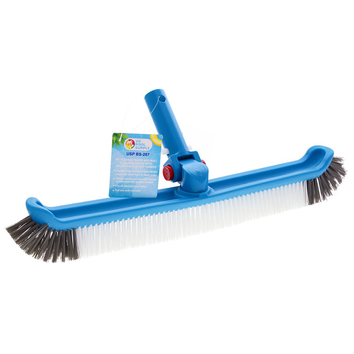 "U.S. Pool Supply Professional 20"" Floor & Wall Pool Cleaning Brush with Adjustable Angle EZ Clip Handle - Curved Ends, 7 Rows of Durable Nylon Bristles - Easily Sweep Algae from Walls, Floors, Steps"