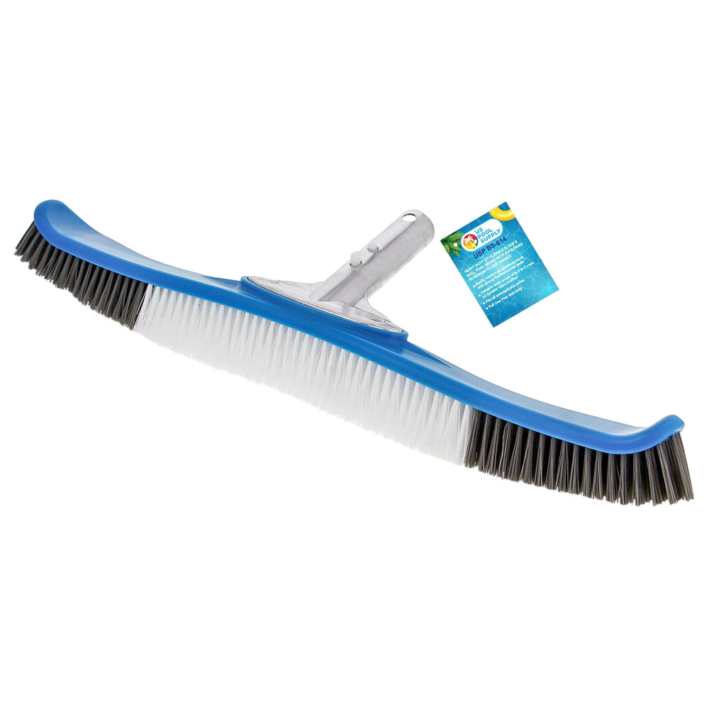 "U.S. Pool Supply Professional Heavy Duty 20"" Flexible Floor & Wall Pool Brush with Polished Aluminum EZ Clip Handle - Curved Ends, Durable Nylon Bristles - Easily Sweep Algae from Walls, Floors, Steps"