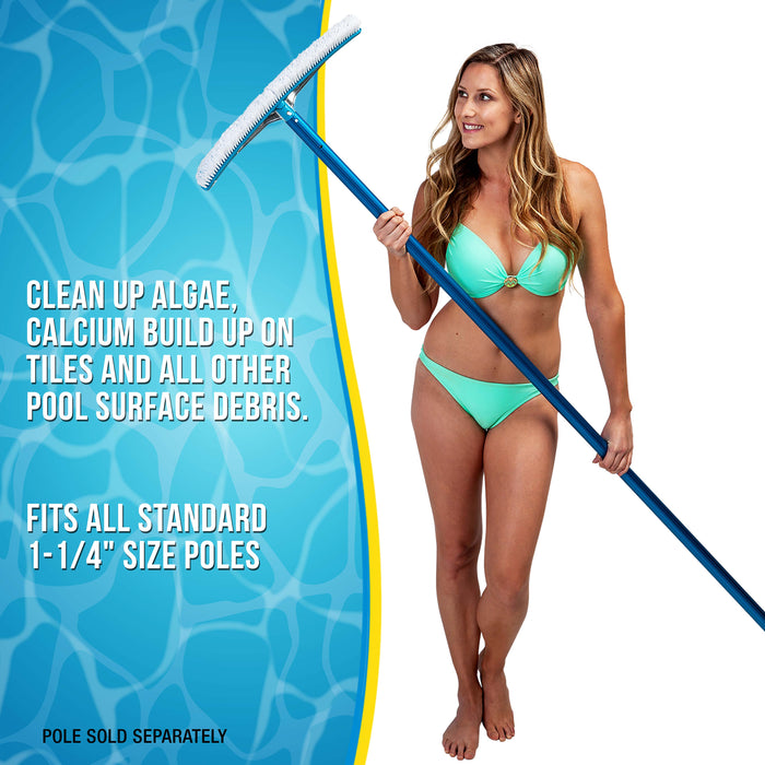 "U.S. Pool Supply Professional 18"" Aluminum Wall & Floor Pool Brush with Nylon Bristles and EZ Clip Handle - Reinforced Curved Ends, Durable Nylon Bristles - Easily Sweep Algae from Walls, Floor, Steps"