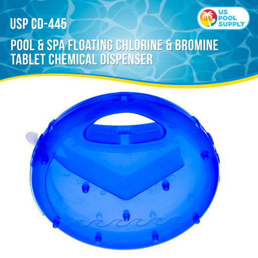 "U.S. Pool Supply Pool & Spa Floating Chlorine & Bromine 3"" Tablet View Circle Chemical Dispenser 10"" Diameter - Floats Upright when Full and Flat when Needs Refill - Adjustable Dispensing Settings"