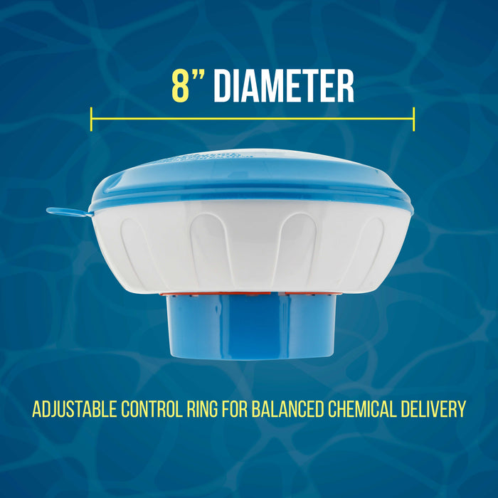 "U.S. Pool Supply Floating Pool Chlorine and Bromine Chemical Dispenser with Pop-Up Refill Indicator - Holds 3"" and 4"" Tablets, 8"" Diameter - Adjustable Balanced Chemical Delivery"