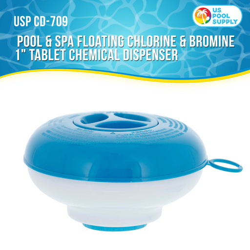 "Pool & Spa Floating Chlorine & Bromine 1"" Tablet Chemical Dispenser, 5"" Diameter, Collapsible Floater"