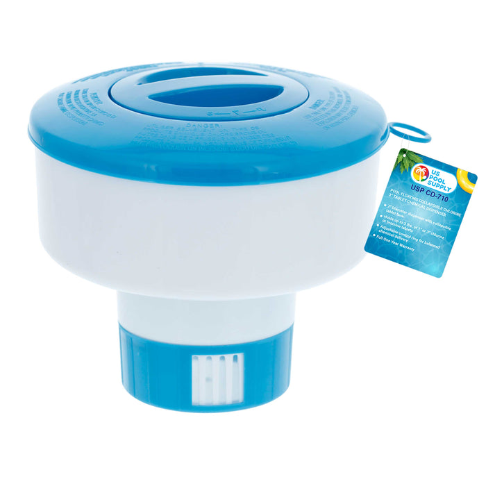 "U.S. Pool Supply Pool Floating Collapsible Chlorine 3"" Tablet Chemical Dispenser, 7"" Diameter, Collapsible Tank"