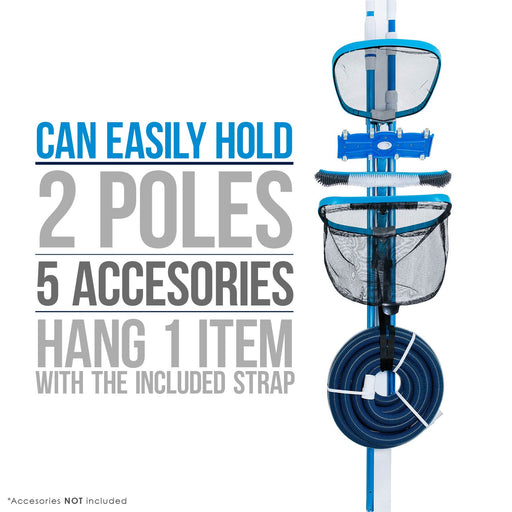 U.S. Pool Supply Pool Cleaning Accessory Organizer and Holder Rack - Store Poles, Brushes, Nets, Vacuums - Caddy Hanger for Swimming Pool Spa Attachment Accessories