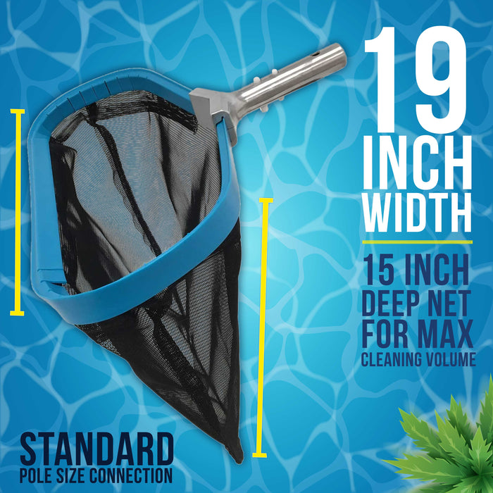 "U.S. Pool Supply Professional Heavy Duty 19"" Swimming Pool Leaf Skimmer Rake with Strong Reinforced Aluminum Frame Handle, Deep Net Bag - Commercial Grade"