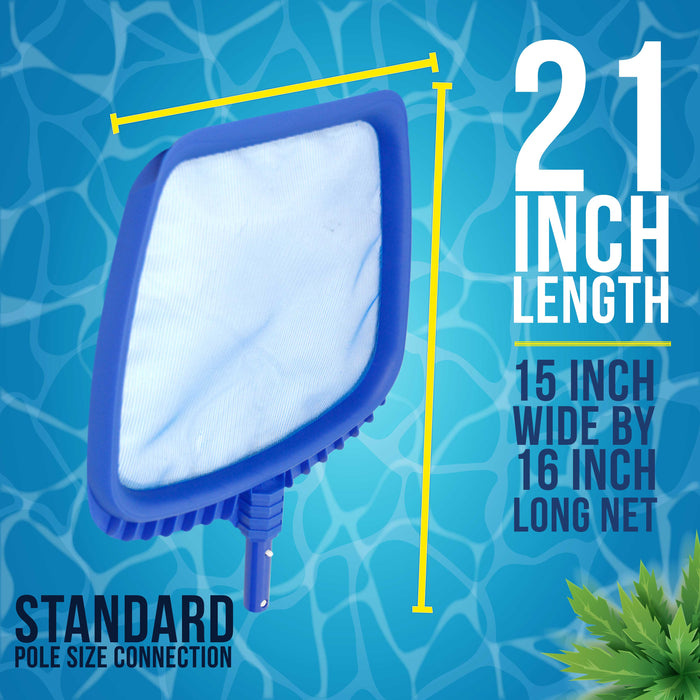 "U.S. Pool Supply Professional Heavy Duty Large 15"" x 16"" Swimming Pool Leaf Skimmer Net - Fine Mesh Netting, Easy Scoop Edge - Fast Cleaning, Debris Pickup Removal - Fits Standard Swimming Pool Poles"