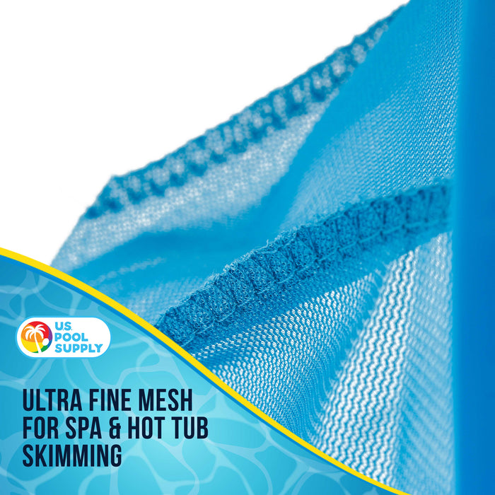 "U.S. Pool Supply Professional Spa, Hot Tub, Pool Hand Leaf Skimmer Net with 12"" Aluminum Pole - Deep Ultra Fine Mesh Netting Bag Basket, Clean the Finest Debris - Pond Small Kid Kiddie Inflatable Pool"