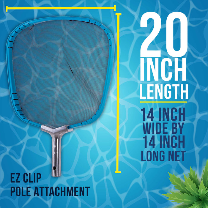 "U.S. Pool Supply Professional Heavy Duty 14"" Swimming Pool Leaf Skimmer Net with Strong Reinforced Aluminum Frame Handle - Commercial Grade"