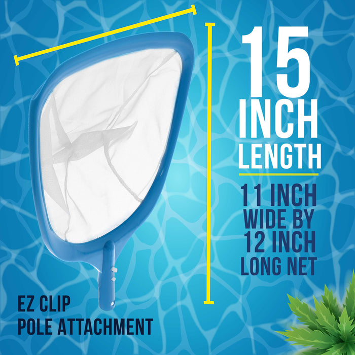 U.S. Pool Supply Professional Swimming Pool Leaf Skimmer Net with Ultra Fine Mesh Deep Netting Bag Basket - Fast Cleaning of the Finest Debris - Clean Pool Liners, Spas, Ponds and Kids Inflatable Pool