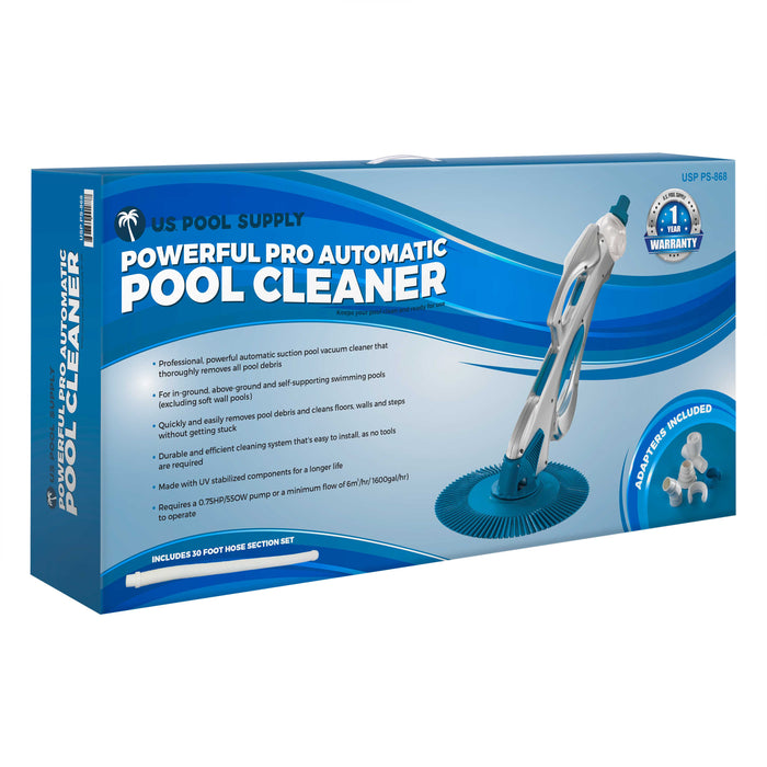 U.S. Pool Supply Powerful Professional Automatic Pool Vacuum Cleaner - Includes 30 Foot Spiral Hose - High Performance Suction that Removes Swimming Pool Debris, Cleans Floors, Walls and Steps