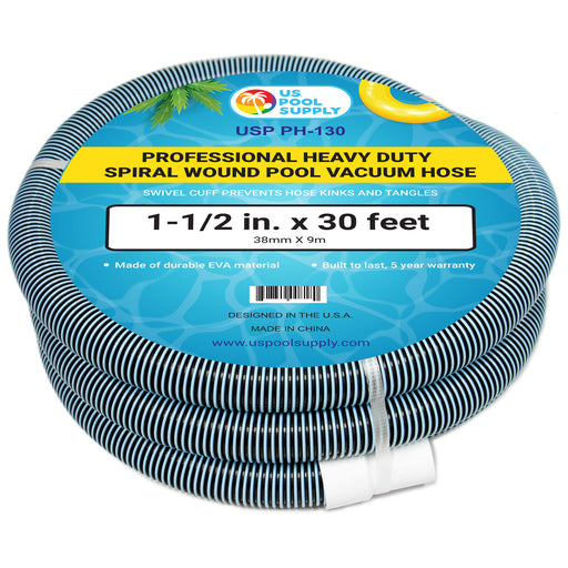 "Professional Heavy Duty Spiral Wound Swimming Pool Vacuum Hose, 1-1/2"" x 30 Feet, Swivel Cuff"