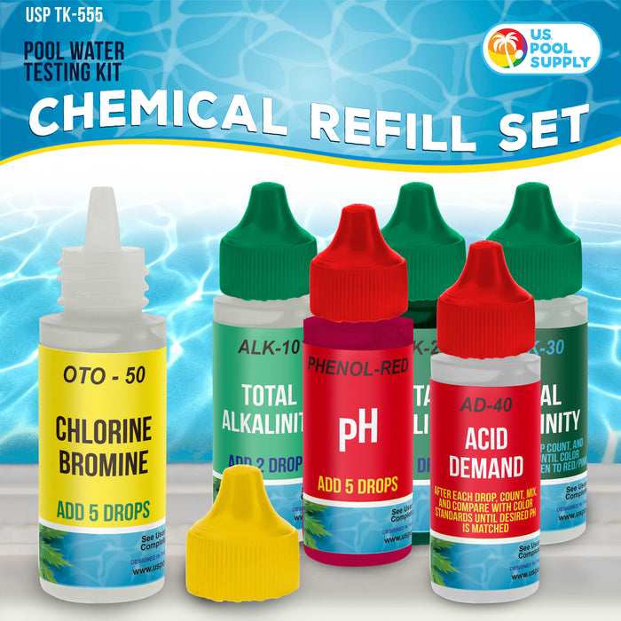 U.S. Pool Supply 6 Bottle Refill Solution Pack for Premium 5-Way Swimming Pool & Spa Test Kit - pH Chlorine Bromine Alkalinity, Acid Demand Indicators