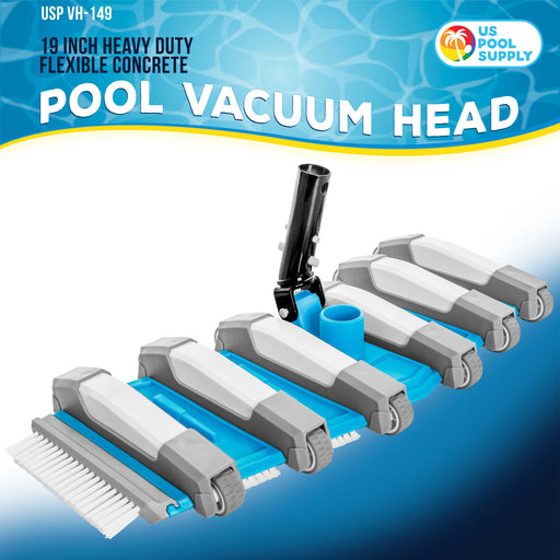 "U.S. Pool Supply 19"" Heavy Duty Weighted Flexible Concrete Swimming Pool Vacuum Head with Side Brushes and Metal EZ Clip Handle - Professional Commercial Grade"