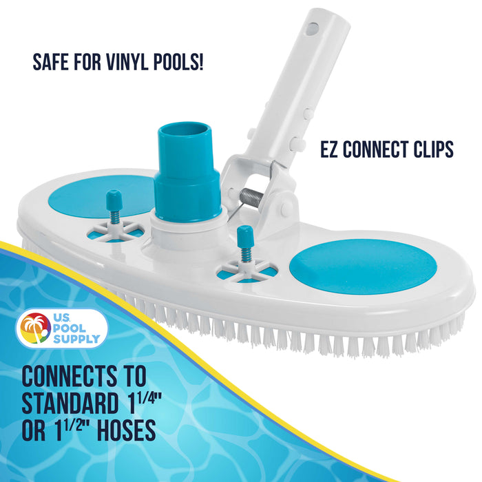 "13"" Weighted Pool Vacuum Head with Nylon Bristles, Swivel Hose Connection, EZ Clip Handle - Connect 1-1/4"" or 1-1/2"" Hose - Removes Debris, Cleans Floors - Safe for Vinyl Lined Pools"