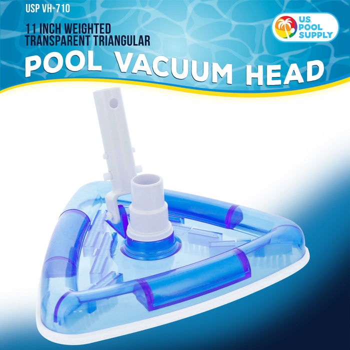 "U.S. Pool Supply Weighted Transparent Triangular Pool Vacuum Head with Swivel Hose Connection and EZ Clip Handle - Connect 1-1/4"" or 1-1/2"" Hose - Removes Debris, Clean Corners - Safe for Vinyl Pools"