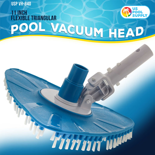 "U.S. Pool Supply Flexible Triangular Pool Vacuum Head with Swivel Connection and Multi-Directional Fishtail EZ Clip Handle - Connects to Standard 1-1/2"" & 1-1/4"" Vacuum Hose & 1-1/4"" Poles"
