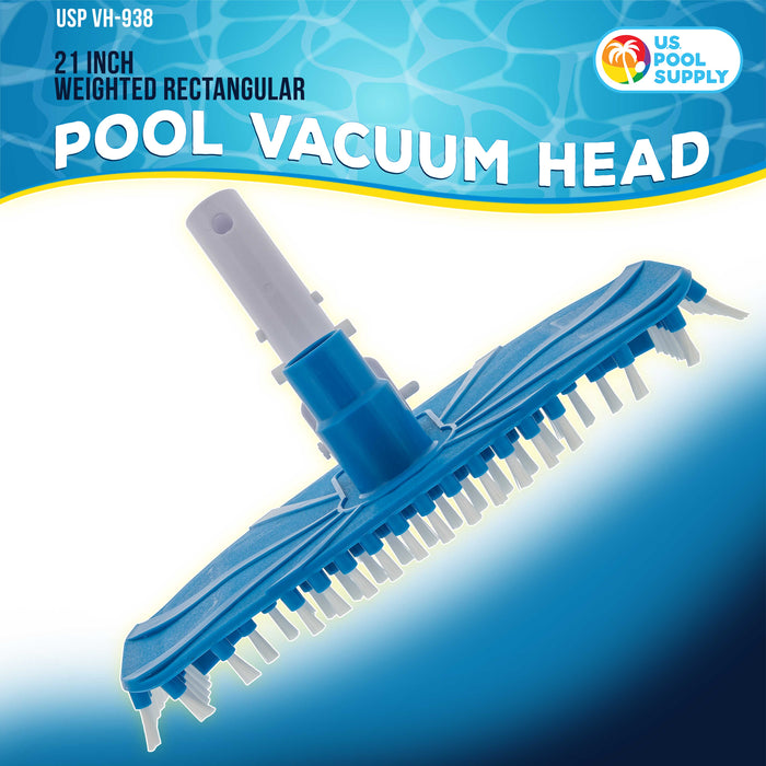 "U.S. Pool Supply Flexible 12"" Weighted Pool Vacuum Head with EZ Clip Handle - Connects to Standard 1-1/2"" & 1-1/4"" Vacuum Hose & 1-1/4"" Poles"