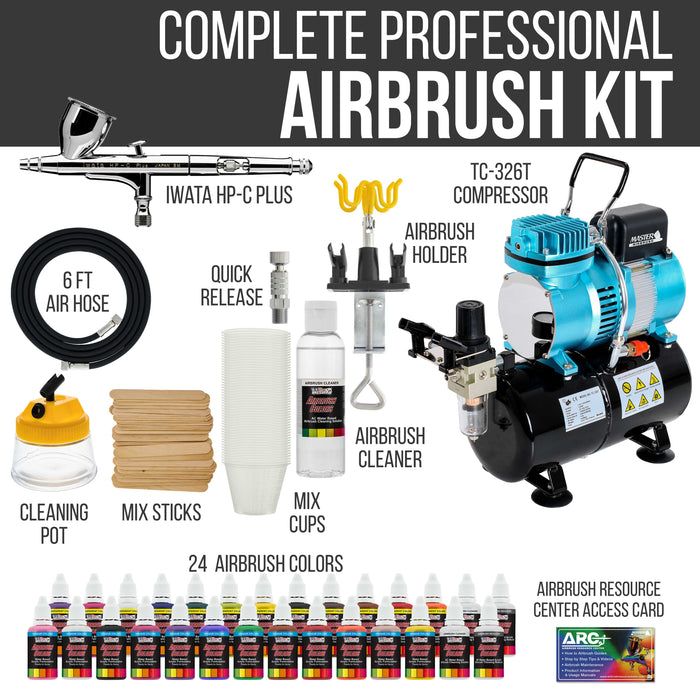 Iwata High Performance Plus HP-C Plus Airbrush Kit with Master Airbrush Cool Runner II Dual Fan Air Tank Compressor, 24 Color US Art Supply Airbrush Paint Set and a Full Set of Airbrush Accessories
