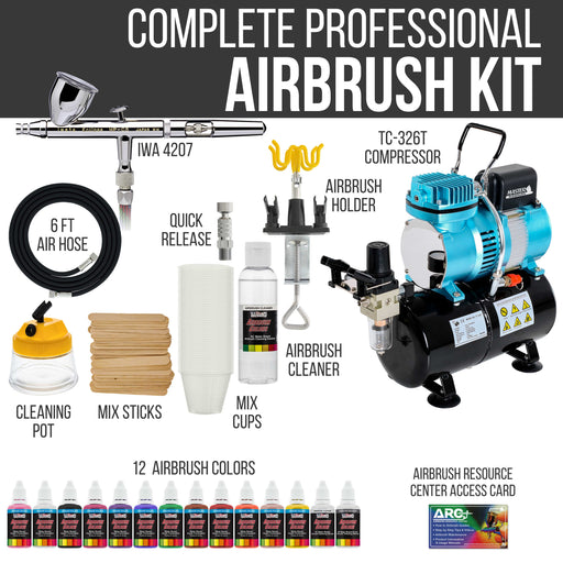Eclipse HP CS Airbrush Set with Cool Runner II Dual Fan Air Tank Compressor System Kit, 12 Color Airbrush Paint, Hose, Holder, Cleaning Pot, Mixing Cups, How-to Guide