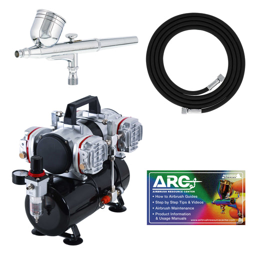 Multi-Purpose High Performance G22 Airbrush Kit with TC-848 4 Cylinder Piston Air Compressor with Air Storage Tank & Air Hose