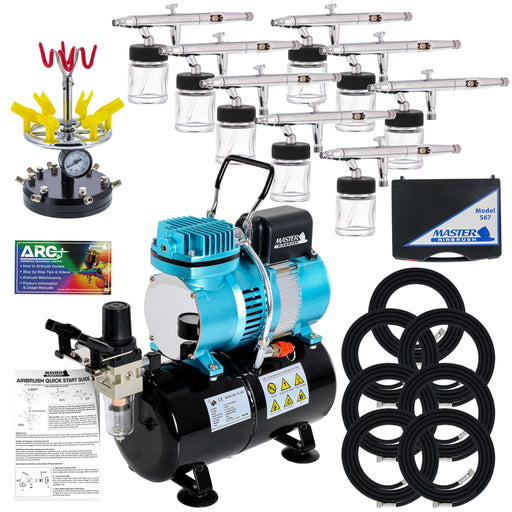 8 HI-FLOW All-Purpose Precision Dual-Action Siphon Feed Airbrushes with High Performance Airbrush Air Compressor with Air Storage Tank