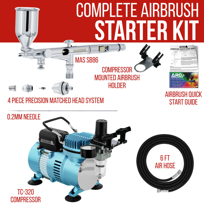 High Precision Detail Control Dual-Action Side Feed Airbrush Set with Cool Runner II Dual Fan Air Compressor Kit, 0.2mm Tip, 1/2oz Gravity Cup