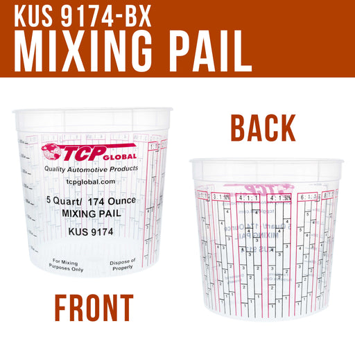 Case of 48 - Mix Cups - 5 Quart size - 174 ounce Volume Paint and Epoxy Mixing Cups - Mix Cups Are Calibrated with Multiple Mixing Ratios
