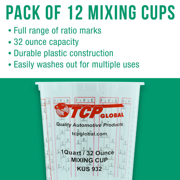 Pack of 12 - Mix Cups - Quart size - 32 ounce Volume Paint and Epoxy Mixing Cups - Mix Cups Are Calibrated with Multiple Mixing Ratios