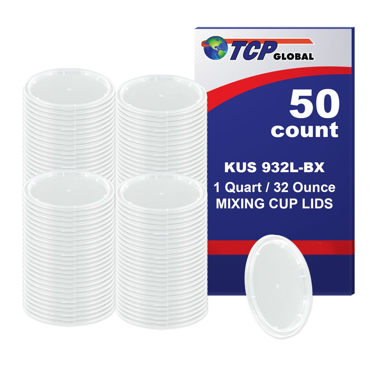 Box of 50 Lids - Quart size - Exclusivly fit Custom Shop /TCP Global 32 Ounce Paint Mix Cups
