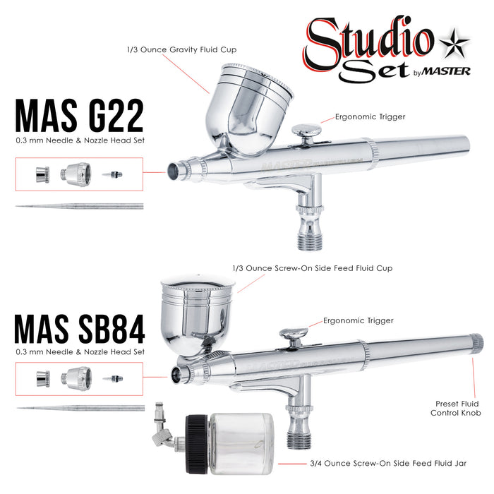 Master G65 Studio Airbrush Set with 6 Different Airbrush Models (3 Gravity Feed, 2 Siphon Feed, 1 Side Feed)