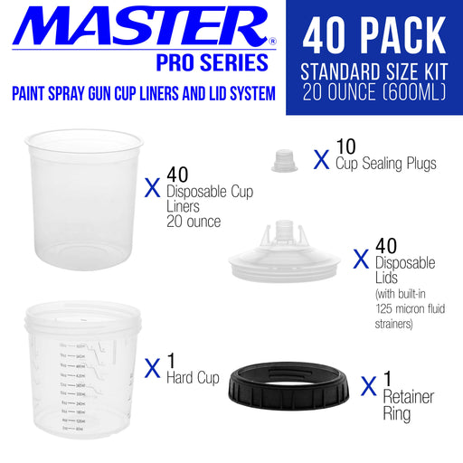 Master Paint System MPS Disposable Paint Spray Gun Cup Liners and Lid System, 40 Pack Standard Size 20 Ounce (600ml) Kit - 40 Cup Liners, 40 Lids with Strainer, 1 Hard Cup with Retainer Ring, 10 Plugs