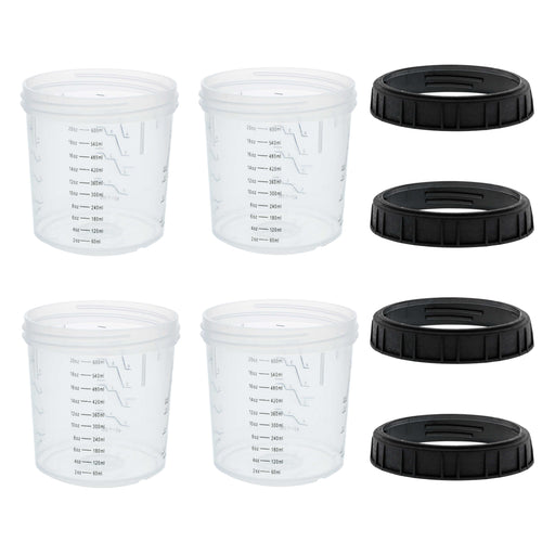Master Paint System MPS, 4 Pack Set of Standard Size 20 Ounce (600ml) Hard Cups and Retainer Rings - 4 Hard Cups and 4 Rings for Use with the MPS Disposable Paint Spray Gun Cup Liners and Lid System