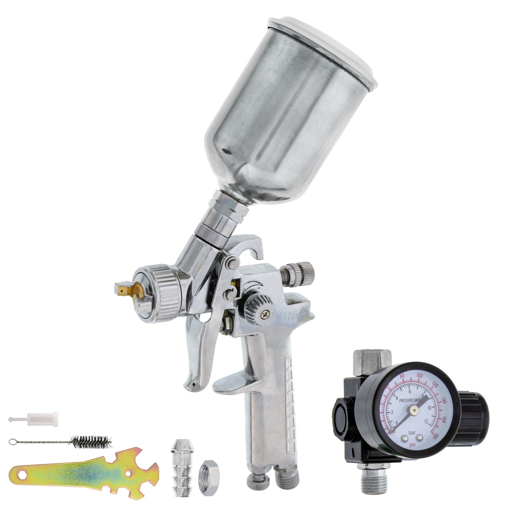 TCP Global Brand Mini Detail Touch-Up HVLP Spray Gun with 1.2mm Fluid Tip and Regulator
