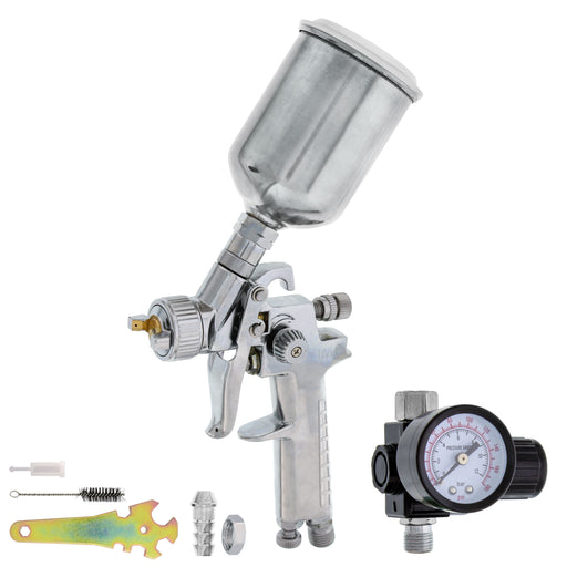 TCP Global Brand Mini Detail Touch-Up HVLP Spray Gun with 1.0mm Fluid Tip and Regulator
