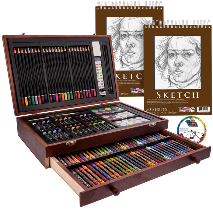 "145 Piece-Mega Wood Box Art, Painting & Drawing Set with Color Mixing Wheel and Bonus 2-9""x12"" Drawing Sketching Paper Pads"