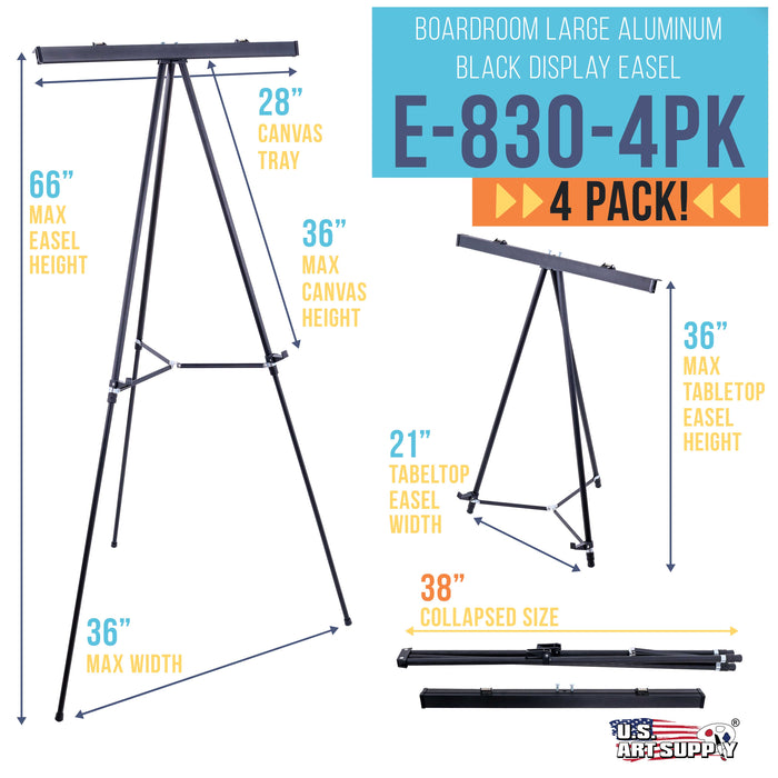 "66"" High Boardroom Black Aluminum Flipchart Display Easel and Presentation Stand (Pack of 4) - Large Adjustable Floor and Tabletop Portable Tripod, Holds 25 lbs, Writing Pads, Posters"