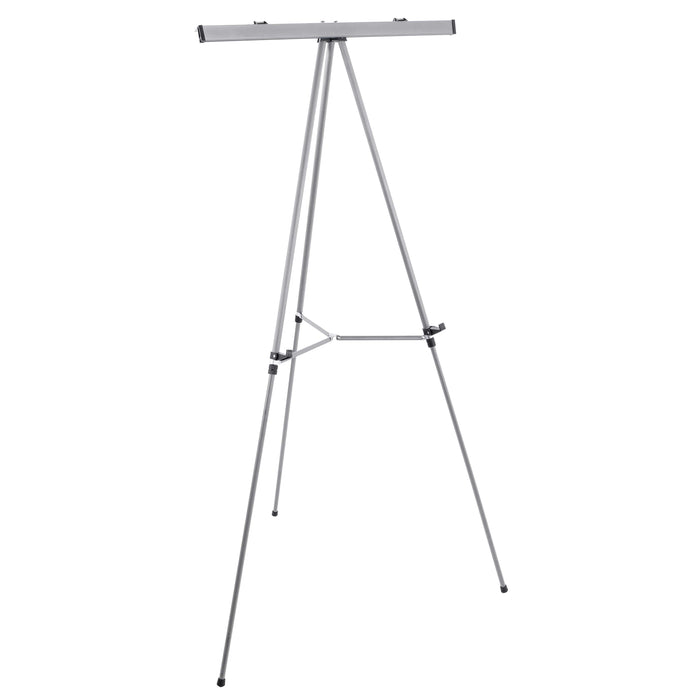 "66"" High Classroom Silver Aluminum Flipchart Display Easel and Presentation Stand - Large Adjustable Floor and Tabletop Portable Tripod, Holds 25 lbs - Holds Writing Pads, Poster Board"