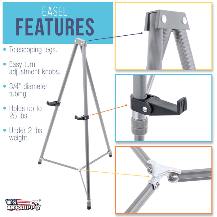 "66"" High Gallery Silver Aluminum Display Easel and Presentation Stand (Pack of 10) - Large Adjustable Height Portable Floor and Tabletop Tripod, Holds 25 lbs, Paintings, Signs, Posters"