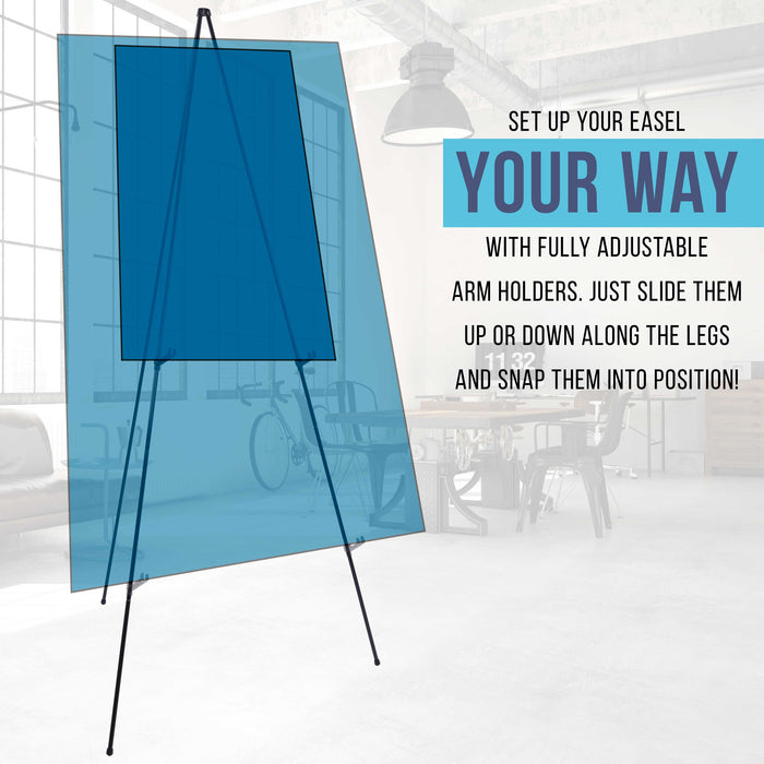 "63"" High Steel Easy Folding Display Easel (Pack of 6) - Quick Set-Up, Instantly Collapses, Adjustable Height Display Holders - Portable Tripod Stand, Presentations, Signs, Posters, Holds 5 lbs"