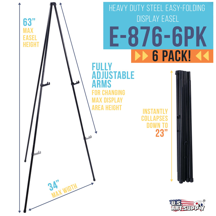 "63"" High Heavy Duty Steel Easy Folding Display Easel (Pack of 6 Easels) - Adjustable Height Display Holders - Portable Tripod Stand, Presentations, Event Signs, Posters, Holds 10 lbs"
