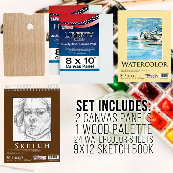 95 Piece Wood Box Easel Painting Set - Oil, Acrylic, Watercolor Paint Colors and Painting Brushes, Oil Artist Pastels, Pencils - Watercolor, Sketch Paper Pads - Canvas, Palette, Knifes