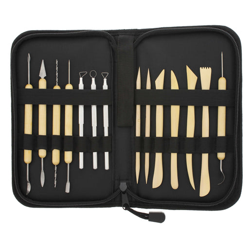 14-Piece Pottery, Clay Sculpture & Ceramics Tool Set with Canvas Zippered Case